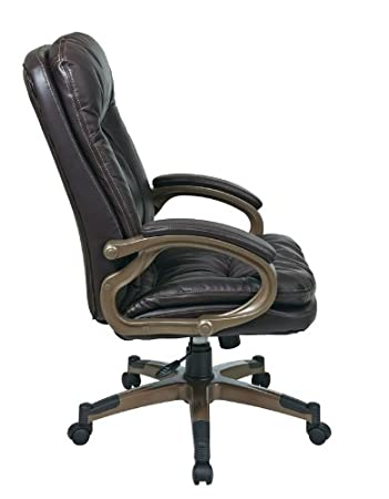 Espresso ECH83501-EC1 office star 800 Office Star Bonded Leather Seat and Back Executives Chair with Fixed Arms and Cocoa Coated Accents