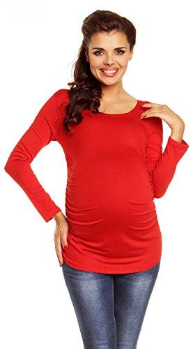 Zeta Ville - Mujer prémaman Camisa - Elástico Jersey - 947c Rojo