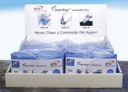 `Commode Pail Liners w/Gel Display Pack (10x10 packs)