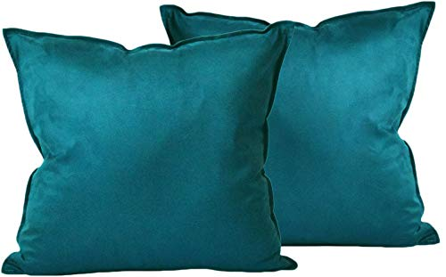 Zealax Set of 2 Decorative Throw Pillow Covers Comfortable Cushion Covers Pillowcases for Sofa Couch Home Decor, 18 x 18 inches, Dark Teal -