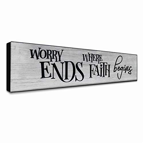 LACOFFIO Inspirational Wall Art Decor - Worry Ends Where Faith Begins Rustic Christian Scripture Kitchen Plaque - Motivational Religious Wooden Sign for ()