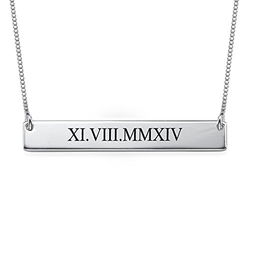 Emily And Ashley Initials Necklace - Roman Numeral Bar Necklace Personalized Name Necklace Sterling Silver 0.925