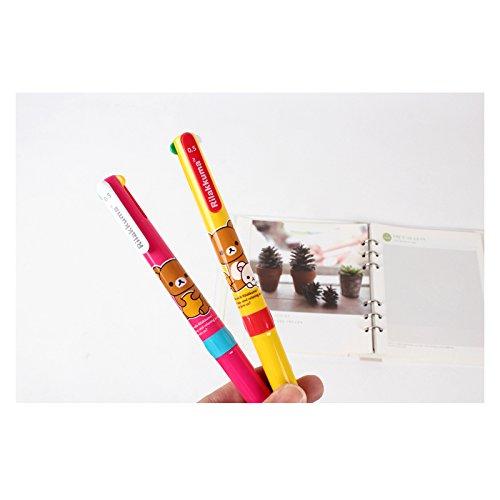 San-x Rilakkuma 0.5mm 4-Color Ballpoint Pen with Pocket Clip 1pc (Yellow)