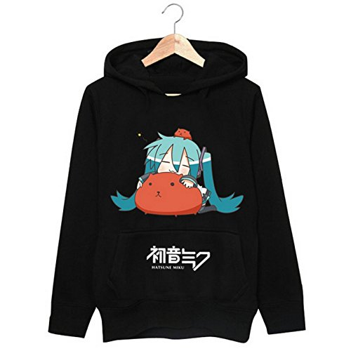 New VOCALOID 2 Miku Hatsune Cosplay Costume Anime Long Sleeves Hat Hoodie (M, (Black Kitty Hoodie Girls Costumes)