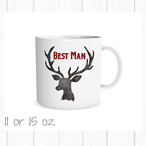 Personalized Best Man Deer Antler Mug, Choose Color Add a Name, Wedding Party Favor, Groomsman Gift (Hot Wedding Favors Cocoa)