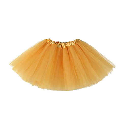 Drindf Girl Clothing Toddler Baby Girls Kids Solid Color Tutu Ballet Skirts Lace Fancy Party Skirt (3-10 Years Old, Gold) (Set Skirt Santa)