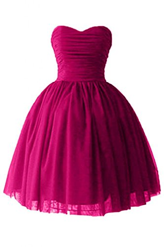 Victoria Prom Women's Sweetheart Cocktail Dresses Satin Tulle Homecoming Party Dresses Fuchsia us8