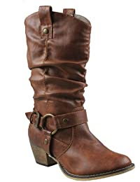 Wild-02 Women's Mid calf Cowboy boots with distressed PU...