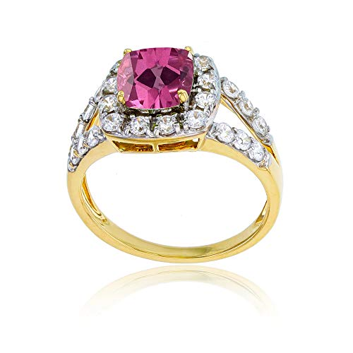 Sterling Silver Yellow 7mm Cushion Pink Topaz & 2mm Round Created White Sapphire Ring