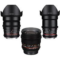 Samyang 3 Pack Cine DS Bundle Includes 24mm T1.5 Cine DS Lens, 35mm T1.5 Cine DS Wide-Angle Lens, 85mm T1.5 Cine DS Aspherical Lens For Nikon F Mount