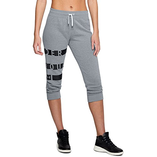 Cuffed Graphic - Under Armour Women's Favorite Fleece Graphic Capris, Steel Light Heather (035)/Black, Small