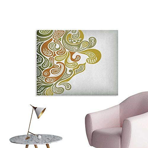 - Anzhutwelve Earth Tones Wallpaper Classical Scroll Pattern with a Modern Approach Swirled Leaf Figures The Office Poster Khaki Green Cinnamon W32 xL24