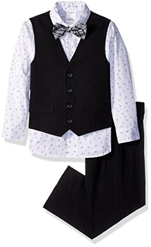 Van Heusen Boys' Toddler 4-Piece Formal Bow Tie Vest Set, Seersucker Black 3T