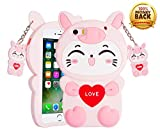 3D Pink Cat Phone Case for iPhone SE/5S/5, Soft Silicone Rubber Kawaii Cute Cartoon Animal Shockproof Drop Protection Funny Unique Durable Bumper Case Cover