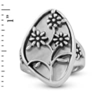 Veronica Benally Sterling Silver Mother of Pearl Floral Ring by Relios