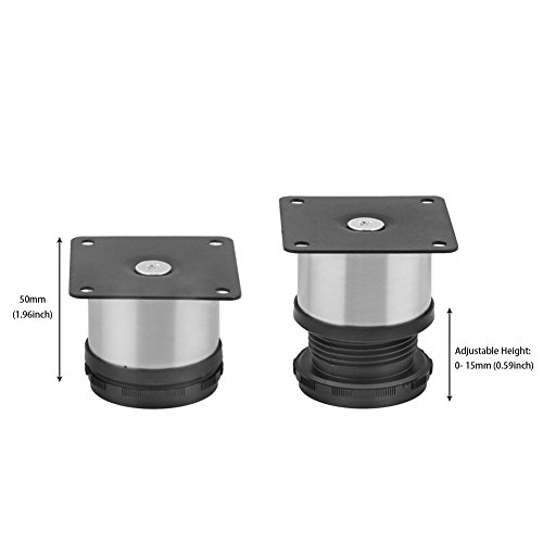 Furniture Metal Adjustable Stainless Steel Feet Round Black And Silver 50 X 50mm Pack Of 4 Home & Garden Buckles & Hooks
