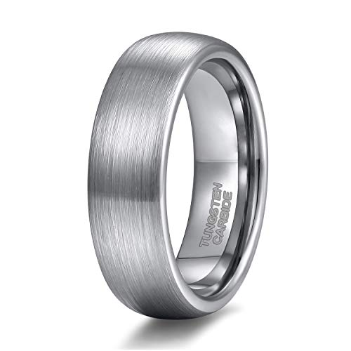 - 6mm Mens Womens Tungsten Ring Brushed Matte Dome Silver Wedding Band Comfort Fit Size 7.5