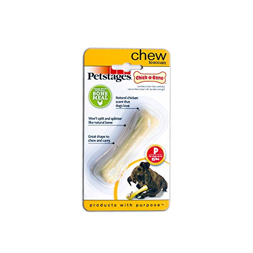 Petstages Chick-a-Bone Dog Chew Toy - Safe, Natural & Healthy Chewable Bones - Real Chicken Flavored Chewing Toy for Dogs