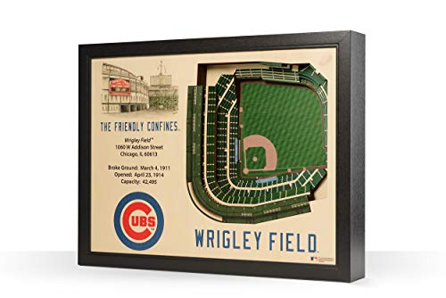 (YouTheFan MLB Chicago Cubs - Wrigley Field Stadiumview Wall Art, One Size, Birch Wood)