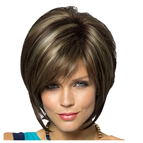 Straight Short Bob Wig for Black Women Ombre Full Hair Wigs Heat Resistant Synthetic Fiber Daily Party Wig Natural Looking (Brown) (Blades Twist Refill Trimmer)