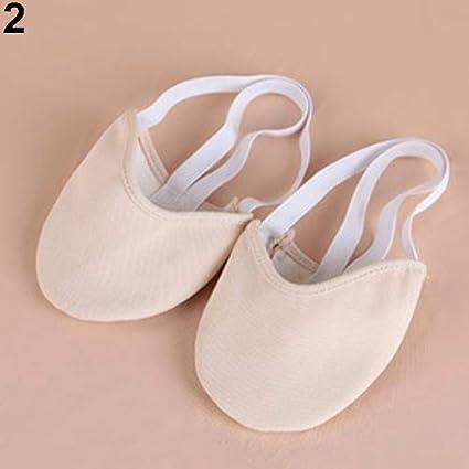 Beige S Acamifashion Womens Rhythmic Gymnastics Half Lyrical Toe Shoes Ballet Pointe Dance Shoes