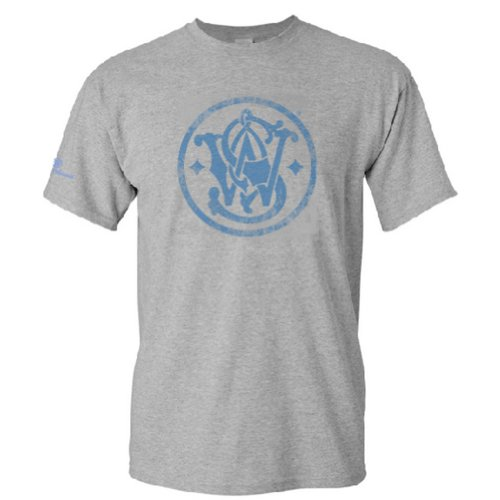 Smith & Wesson Men's Distressed Emblem T-Shirt (Gray - M) (Million Arm Dollar Book)