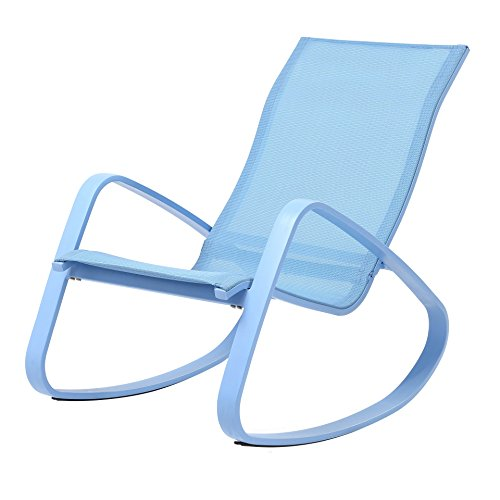 Royal Garden Eero Aluminum Rocking Patio Porch Deck Chair with Padded Legrest, Blue