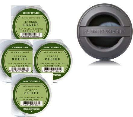 Bath and Body Works Scentportable Fragrance Refill Stress Relief Eucalyptus Spearmint & Black Rubber Scentportable Fragrance Holder.