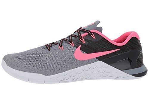 Nike Women's Metcon 3 Training Shoe Cool Grey/Solar Red-Black-Pure Platinum Size 6.5 ()