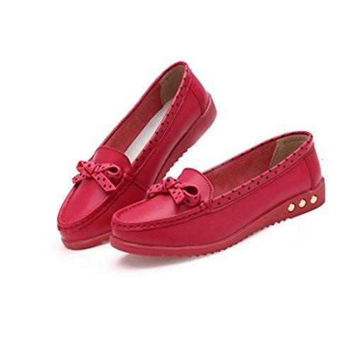 Scarpe Da Donna Decolleté Bowknot Di Livello Mondiale Slip Shoes Slip On Mocassini Rossi