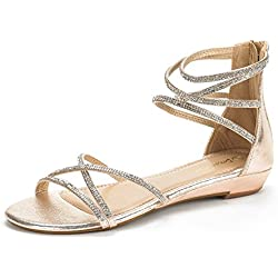 DREAM PAIRS WEITZ New Women Open Toe Fashion Rhinestones Crisscross Valcre Ankle Straps Summer Design Flat Sandals GOLD SIZE 11