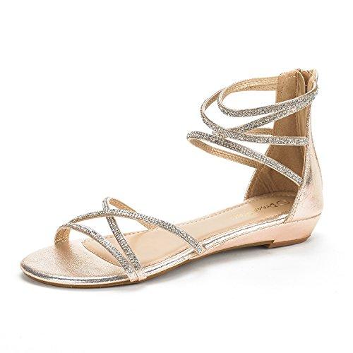 Dream Pairs Women's WEITZ Gold Ankle Strap Rhinestones Low Wedge Sandals - 8.5 M US