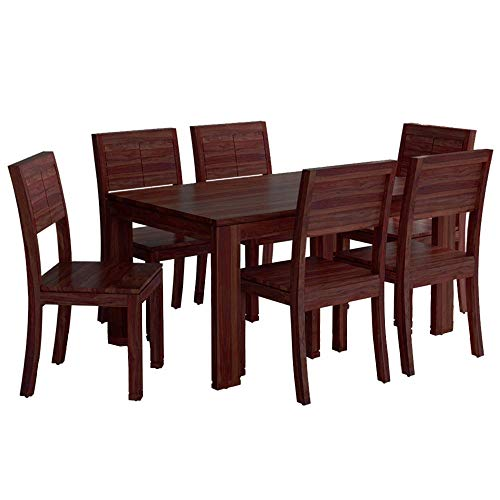 Furny Taj Solid Wood 6 Seater Dining Table Set   Mohagany