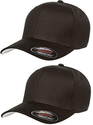 Flexfit 2-Pack Premium Original Cotton Twill Fitted Hat w/THP No Sweat Headliner Bundle Pack ()