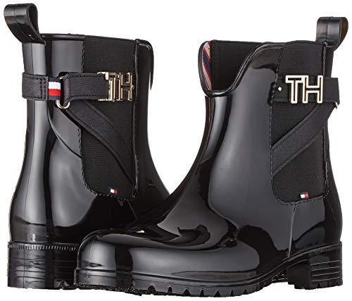 Tommy Hilfiger Damen TH Hardware Rubber Bootie Stiefeletten, Schwarz (Black 990), 40 EU 7