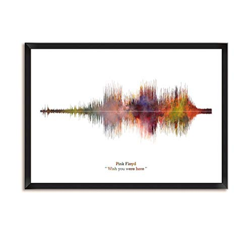 LAB NO 4 Pink Floyd Band Wish You were Here Song Soundwave Print Music Lyrics Framed Poster in A4 Size