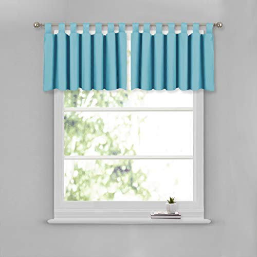 NICETOWN Short Curtains Blackout Valance Tiers - 52-inch by 18-inch Tab Top Valance Window Covering for Kitchen (Teal Blue, Double ()