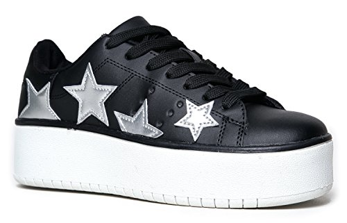 J. Adams Hero Platform Lace Up Sneaker, Black Silver Star, 8 B(M) US (Shoe Womens Platform)