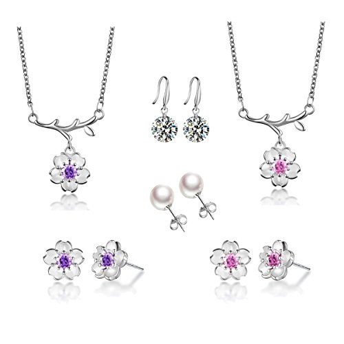 Silver Plated-brass and Cubic Zirconia Necklace Earring Jewelry Set Pink Purple Flower (pink purple pearl) (Set Pearl Plated)