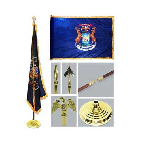 Michigan 3ft x 5ft Flag Flagpole Base and Tassel