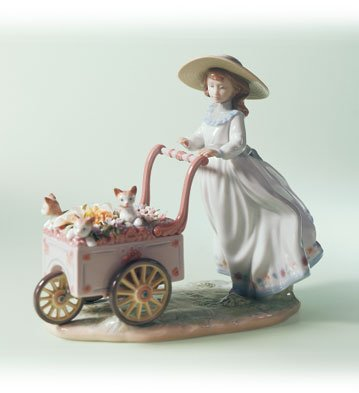 Lladro Kitty Cart 06141 Girl with Flower Cart with Kittens (Lladro Girl Flowers)