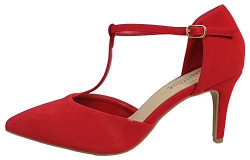 Città Classificata Comfort Womens Pin-toe T-strap Tacco Medio Rosso