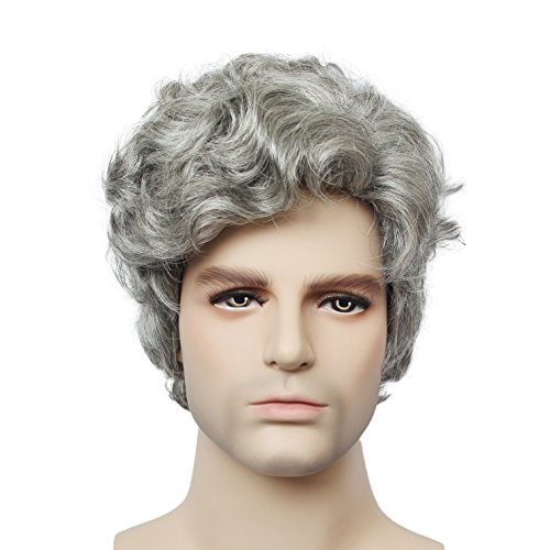 Short Costume Wigs for Mens Black Grey Mix Color Wavy Synthetic Hair older mens wig on sale Halloween Party Hair (Pixie Wigs Halloween)