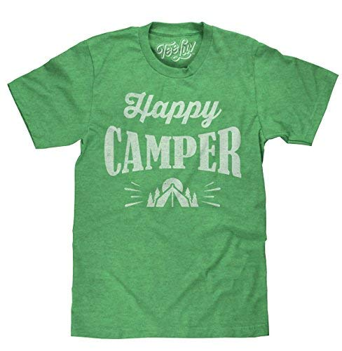 Tee Luv Happy Camper T-Shirt - Graphic Camping Shirt (Small)  Royal Snow Heather