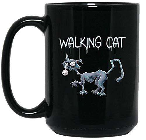 Funny Cat Mug Walking Cat Halloween Mug - Black Cat Coffee Mug 15oz - Big Mug | Cute Cat Lovers Gift, Zombie Cat -