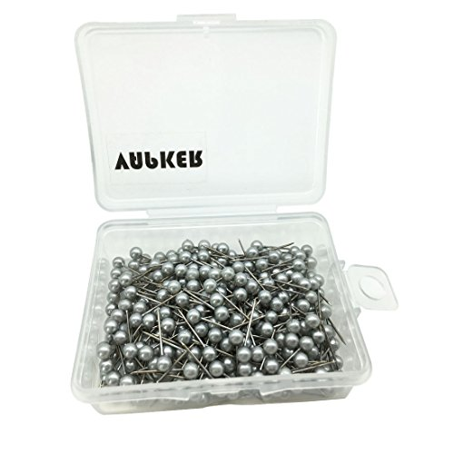 VAPKER 1/8 Inch Map Tacks Round Plastic Head Push pins with Stainless Point(Box of 300 Silver Color pins)