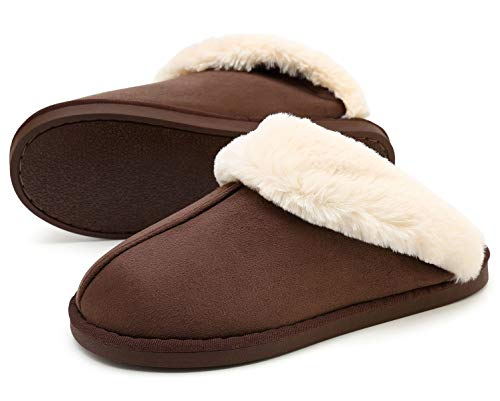 HomyWolf Womens Fluffy Comfy Slippers, Memory Foam Slippers Non Skid House Shoes, Ladies Slipper Foldable Faux Fur Collar