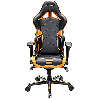 DXRacer Racing Series DOH/RV131/NO Office Chair Gaming Chair Carbon Look Vinyle Ergonomic Computer Chair eSports Desk Chair Executive Chair Furniture with Free Cushions (Black/Orange)