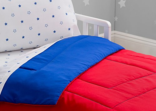 Toddler Bedding Set | Boys 4 Piece Collection | Fitted Sheet, Flat Top Sheet w/Elastic Bottom, Fitted Comforter w/Elastic Bottom, Pillowcase | Delta Children | Boys American | Red White Blue 5