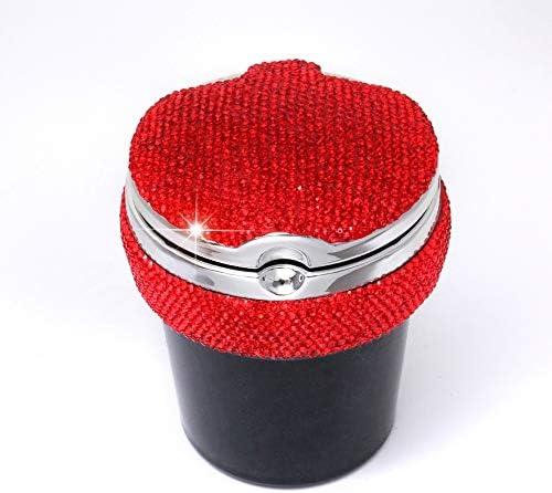 ブルーLEDインジケータ、女性特有のカーアクセサリー付きドリルとカー灰皿携帯灰皿、お好きな色を選択 (Color : Red)